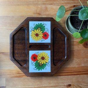 Vintage Flower Charcuterie Board/Trivet